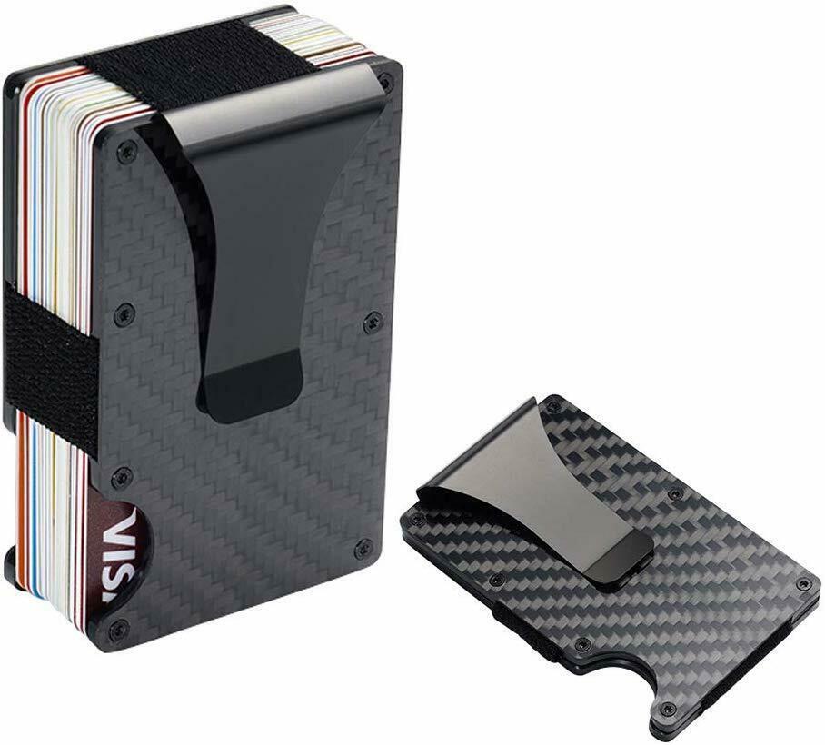 Carbon Fiber Wallet RFID Blocking Credit Card Case Anti-theft Cards Holder Black - Wallets