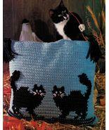 2 Black Cats Pillow Kitty Afghan Kool Kat Pilgrims Rug Crochet Pineapple... - $9.99