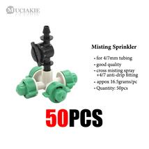 A 50Pcs Cross Misting Sprinkler w/Anti Drip Fitting Garden Mist Spray Ir... - $80.50
