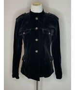 Weekend Max Mara Womens Button Up Velvet Blazer Military Jacket  Black Sz S - $69.95