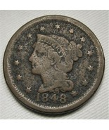 1848 Large Cent FINE Details Coin Estate Piece AE256 - $27.99