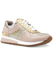 Michael Kors MK Women's Allie Trainer Leather Sneakers Shoes Silver Gold