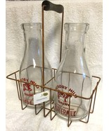 2 Milk Bottles w/ Metal Carrier Hickory Hills Farm Dairy New Vintage Sty... - $25.94