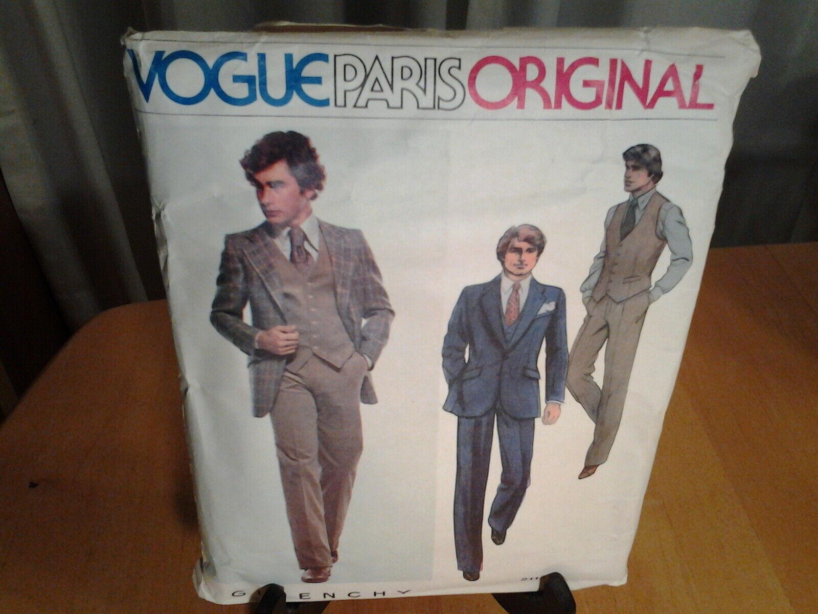 Vogue 2112 Paris Original Givenchy Suit SZ 44 Dated 1979 Pattern - $25.73
