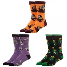 Looney Tunes Bugs Bunny Taz Marvin the Martian Crew Socks 3 Pack Gift Box - $15.75