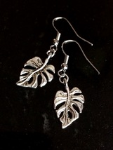 Tropical Leaves Leaf Fern Palm Silver Tone Dangle Earrings  - $6.00