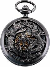 Antique Mechanical Pocket Watch Lucky Dragon & Phoenix Black Skeleton Di... - $39.99