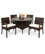 Modern Dining Set of 5 Pcs Outdoor Indoor Garden Furniture Wicker High Q... - $436.48