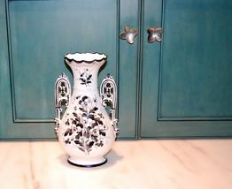 English Victorian Porcelain Black White Pansy Vase - $65.00