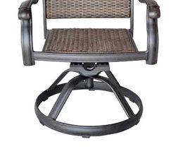 Wicker swivel rocker patio chairs set of 6 outdoor cast aluminum furniture image 4