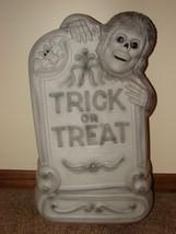 "Empire Halloween Blow Mold: Tombstone Skeleton Trick or Treat 29"" [w Lig... - $45.00"