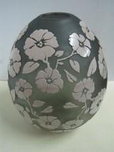 Art Deco CAMEO GLASS Vase European gray and opaque glass - $420.40