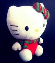 "Hello Kitty Christmas Plush Toy 6"" TY Sanrio Beanie Baby Red & Green Bow... - $16.40"