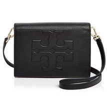 NWT TORY BURCH Black ' Bombe T Combo ' Leather Crossbody Bag - $285.00