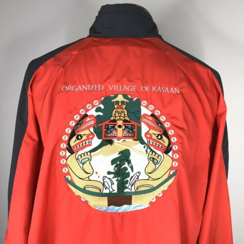 Primary image for North End Mens Kasaan Alaska Haida Jacket Size XL Embroidered Red Gray Coat