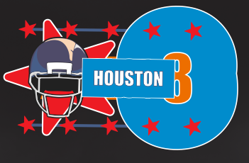 Houston Football Team Sports Style Graphic T Shirt Black Red White L XL 2XL