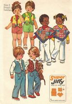 Vtg 1974 Toddlers Super Jiffy Pants Reversible Vest Poncho Sew Pattern S... - $12.99