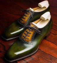 Handmade Men's Green Brown Spectators Dress/Formal Oxford Leather Shoes image 1