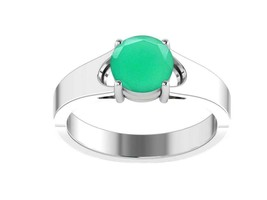 925 Sterling Silver 1.38 Ct Green Onyx Sparkle Solitaire Party Ring RI01120 - $19.73