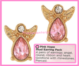 Breast Cancer Pink Hope Stud Earring Pack fo Four Goldtone Earrings 2018 image 6