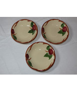lot of 3 Franciscan Earthenware USA RED Apple Pattern Fruit or Berry Bowls *^ - $20.78