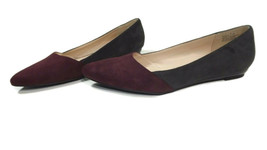 ANDREW GELLER Womens Faux Suede Gray & Burgundy Comfy Flats Shoes Size 7 M  - €24,59 EUR