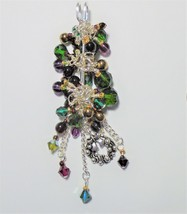 Christmas Brooch handmade Womens Safety pin brooch Chunky glass Pendant ... - $20.00