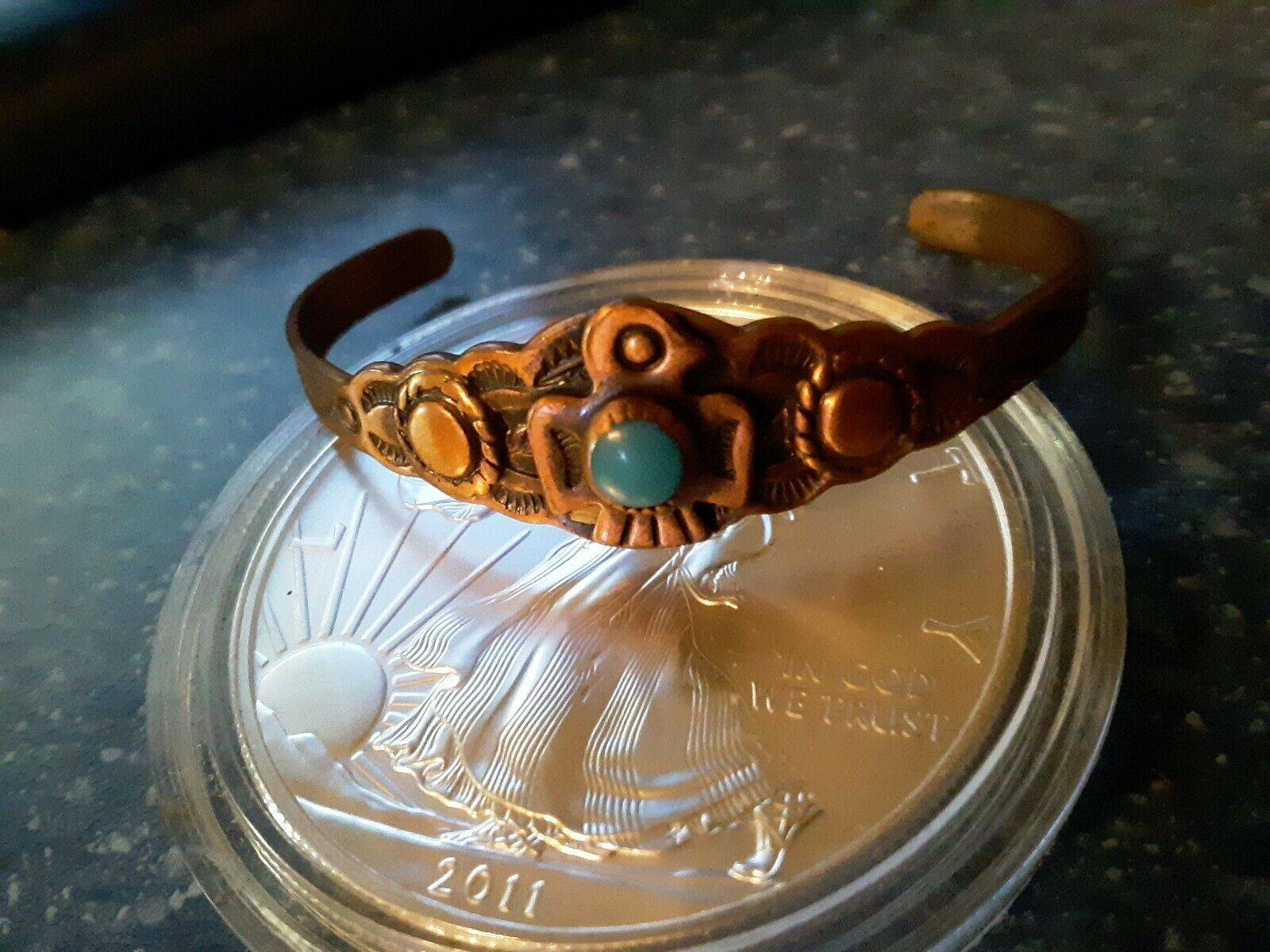 Vtg SIGNED Copper TURQUOISE Bell Trading Post Cuff Bracelet Eagle Small