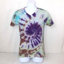 Teen Hippie Tie Dye T-Shirt Mens Size Small Purple Swirl Tee with Splatter Hanes - $12.99