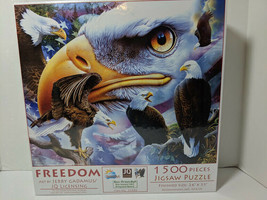 "SunsOut Freedom 1500 Piece Puzzle Eagle NEW 24"" x 33"" USA Jigsaw Eco Friendly - $14.85"