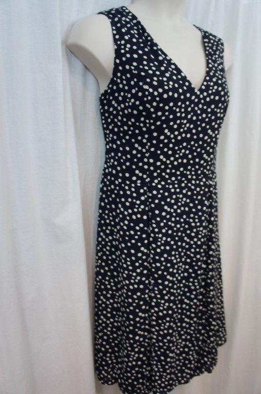 Anne Klein Dress Sz 16 Midnight Camellia Sleeveless Dot Business Cocktail Dress