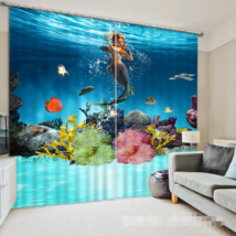 3D Girl Sea 0218Blockout Photo Curtain Print Curtains Drapes Fabric Window UK - $145.49+