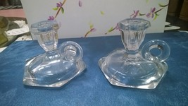 Small Child size Clear glass Candlestick holder pair - $24.00