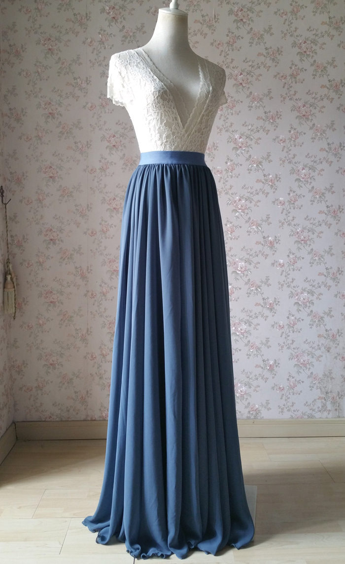 Dusty blue chiffon skirt wedding bridesmaid 700 4