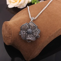 Vintage Black Crystal Flower Drop Long Necklaces & Pendants  Jewelry  - $9.78