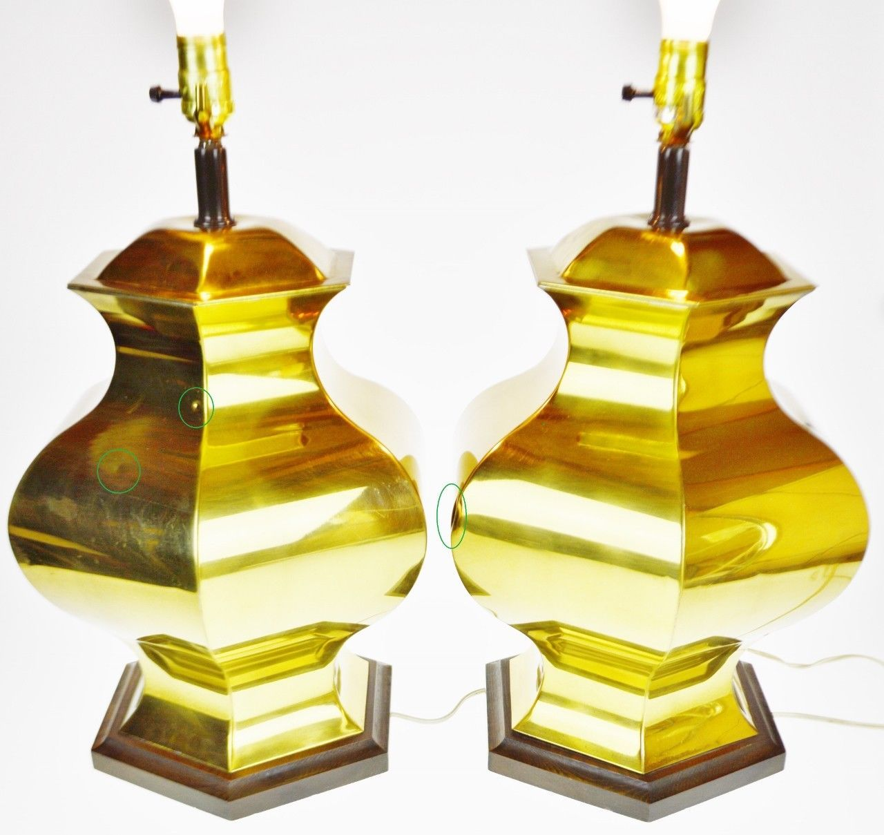 Vintage Brass Ginger Jar Table Lamps A Pair
