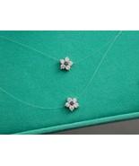 "14k CZ Sapphire 2 Strand Floating Flower Necklace 17 1/8"" NIB - $124.99"