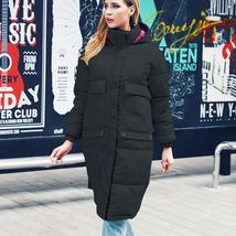 New Women's Casual Hooded Long Soft Quilted Down Zip Up Coat Outwear image 5