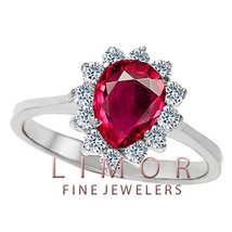 Women's Unique Design 14K White Gold Pear Shaped Ruby Cocktail Ring Size... - $296.01