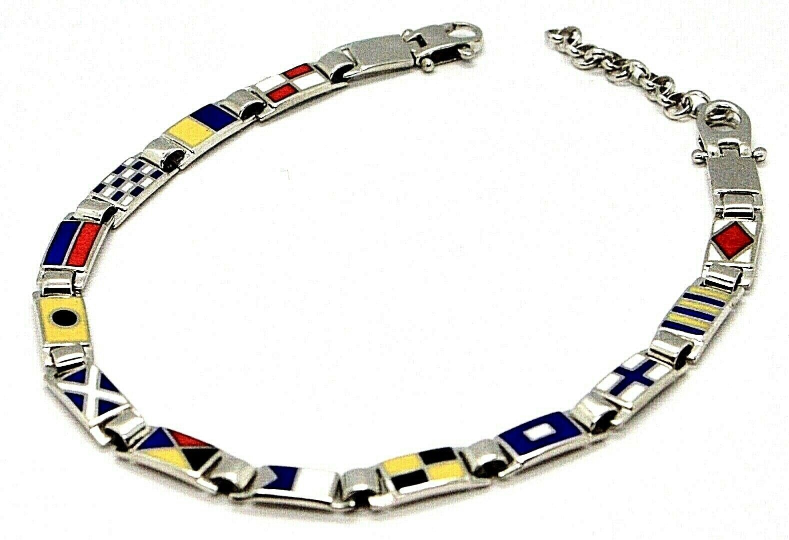 Bracelet Silver 925, Flags Nautical Glazed Tiles, Long 20 cm, Thickness 5 MM