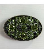 Metal Green Rhinestones Flowers Belt Buckle Ornate Bling Cowgirl Oval - $24.75