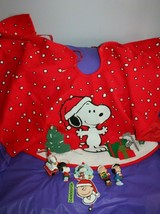 Kurt Adler Peanuts Snoopy Dog Tree Skirt Christmas Tree +6 Character Orn... - $49.49