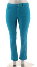 Denim & Co How Slimming Colored Straight Leg Pants Summer Teal 28W NEW A272958 - $26.71