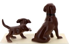 Hagen-Renaker Miniature Ceramic Dog Figurine Chocolate Labrador Sitting with Pup image 2