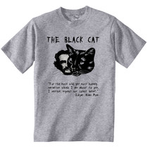 Edgar Allan Poe Black Cat - New Cotton Grey Tshirt - $24.17