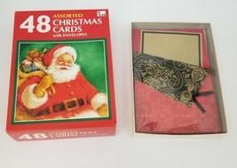 Christmas Cards 41 Total Cards Envelopes Christmas Tree Teddy Bear, Slei... - $12.59
