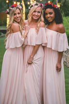 Elegant A Line Pink Chiffon Bridesmaid Dress Off Shoulder Brides Maid Dr... - $93.00