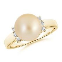 9mm Golden South Sea Cultured Pearl Diamond Collar Ring Silver/ Gold Siz... - $317.78+