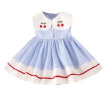 NWT Girls Blue Striped Cherry Peter Pan Collar Sleeveless Dress 2T 3T 4T... - $10.99