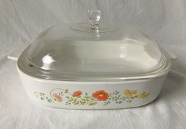 Vintage Corning Ware Wildflower Casserole Dish A-10-B 2.5 Liter Domed Glass Lid - $17.95